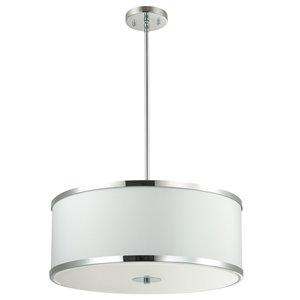 Dainolite Zuri Pendant Light - 4-Light - 20-in x 8.5-in - Polished Chrome/White