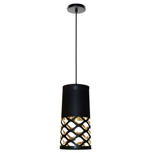 Dainolite Cutouts Pendant Light - 1-Light - 7-in x 14.5-in - Black/Gold