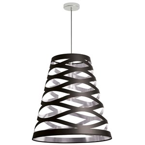 Dainolite Cutouts Pendant Light - 1-Light - 22-in x 23.5-in - Black/Silver