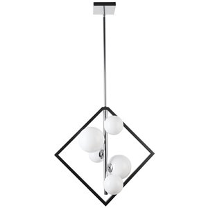 Dainolite Glasgow Pendant Light - 5-Light - 21-in x 20.5-in - Polished Chrome/Frosted Glass