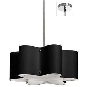 Dainolite Zulu Pendant Light - 3-Light - 20-in x 8-in - Black