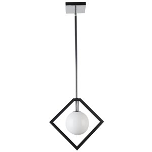 Dainolite Glasgow Pendant Light - 1-Light - 12-in x 11.38-in - Polished Chrome/Frosted Glass