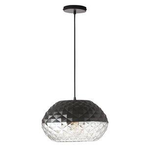 Dainolite Tess Pendant Light - 1-Light - 13-in x 10-in - Glass/Black