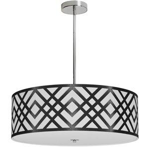Dainolite Mona Pendant Light - 4-Light - 24-in x 8-in - Black/White