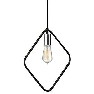 Dainolite Geometric Pendant Light - 1-Light - 12.5-in x 17-in - Chrome/Black