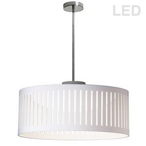 Dainolite Slit Drum Pendant Light - 1-Light - 20-in x 8-in - White