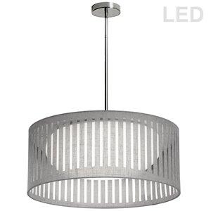 Dainolite Slit Drum Pendant Light - 1-Light - 20-in x 8-in - Grey