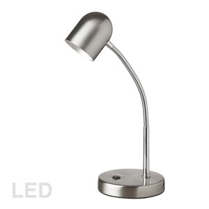 Dainolite Signature Desk Lamp - LED Light -  13.8-in - Satin Chrome