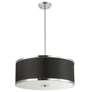 Dainolite Zuri Pendant Light - 4-Light - 20-in x 8.5-in - Polished Chrome/Black