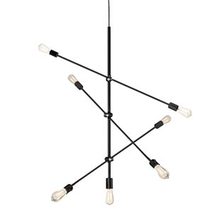 Dainolite Signature Pendant Light - 7-Light - 28.75-in x 23-in - Black