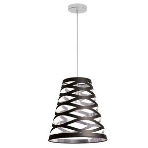 Dainolite Cutouts Pendant Light - 1-Light - 14-in x 15-in - Black/Silver