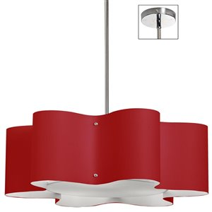 Dainolite Zulu Pendant Light - 3-Light - 24-in x 8.5-in - Red