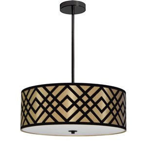 Dainolite Mona Pendant Light - 4-Light - 19-in x 7-in - Gold/Black