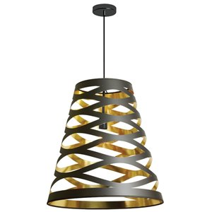 Dainolite Cutouts Pendant Light - 1-Light - 22-in x 23.5-in - Black/Gold