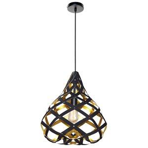 Dainolite Hershey Pendant Light - 1-Light - 15-in x 16-in - Gold