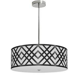 Dainolite Mona Pendant Light - 4-Light - 19-in x 7-in - Black/White