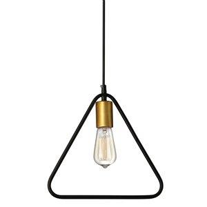 Dainolite Geometric Pendant Light - 1-Light - 11.25-in x 11.5-in - Gold/Black