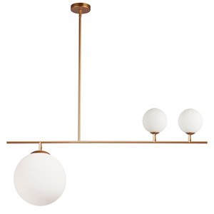 Dainolite Orion Pendant Light - 3-Light - 36-in x 14.5-in - Gold/Frosted Glass