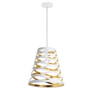 Dainolite Cutouts Pendant Light - 1-Light - 14-in x 15-in - White/Gold