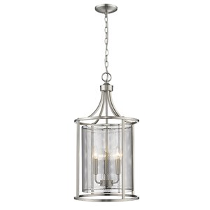 EGLO Verona Pendant Light - 3-Light -  Brushed Nickel Finish with Stainless Steel Shade