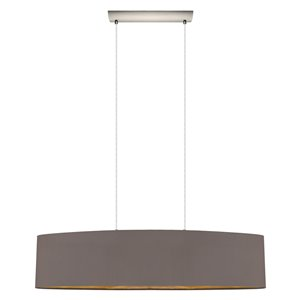 EGLO Maserlo Pendant Light -  Matte Nickel Finish with Cappucino & Gold Fabric Shade