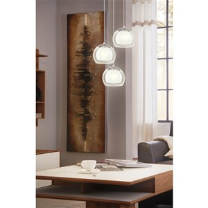 EGLO Ascolese LED Pendant Light - 3-Light -  Matte Nickel Finish with White & Amber Glass