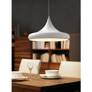 EGLO Coretto Pendant Light -  Glossy White Finish with Glossy White Metal Shade