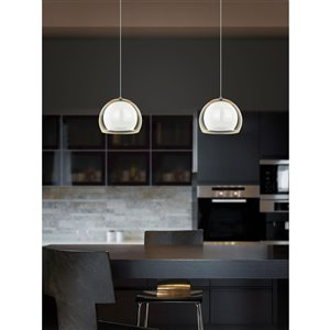 EGLO Ascolese LED Pendant Light -  Matte Nickel Finish with White & Amber Glass