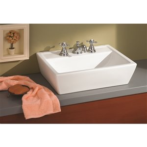 Sentire Vessel Sink - Rectangular - 16-in x 21.25-in - Fire Clay - White