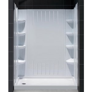 DreamLine QWALL-3 Tub/Shower Base and Backwalls - 60-in- White
