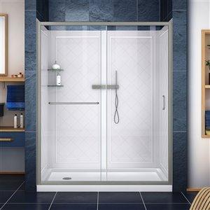 DreamLine Infinity-Z Shower and Door Kit - 60-in - Nickel