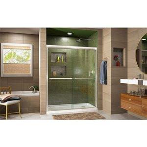 DreamLine Duet Shower Door and Base - 34-in x 60-in - Nickel