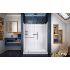DreamLine Infinity-Z Tub/Modern Shower Door - 60-in - Nickel