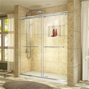 DreamLine Charisma Shower Door/Base Kit - 60-in - Chrome/White