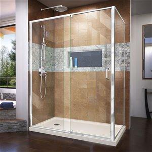 DreamLine Flex Shower Enclosure/Base Kit - 60-in -  Chrome