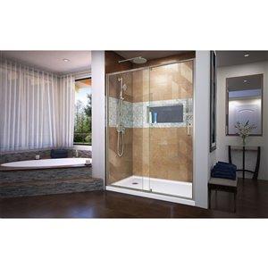 DreamLine Flex Glass Shower Door/Base - 32-in x 60-in - Nickel