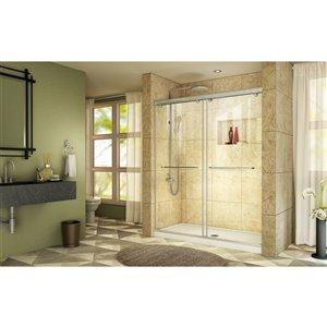 DreamLine Charisma Shower Door and Base - 60-in - Nickel/White
