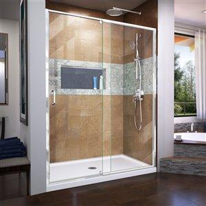 DreamLine Flex Pivot Shower Door/Base - 34-in x 60-in - Chrome