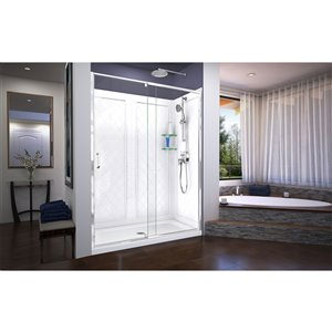 DreamLine Flex Shower Door Kit -  60-in x 76-in - Chrome