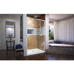 DreamLine Flex Pivot Shower/Tub Door and Base - 36-in x 48-in - Chrome