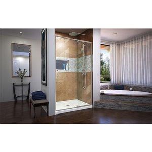 DreamLine Flex Pivot Shower/Tub Door and Base - 36-in x 48-in - Nickel