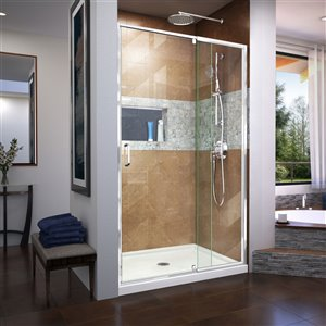DreamLine Flex Framed Shower Door/Base - 32-in x 42-in - Chrome