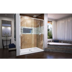 DreamLine Flex Shower Door and Base - 36-in x 60-in - Chrome