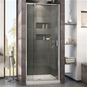DreamLine Flex Shower Door and Base - 36-in x 36-in - Chrome
