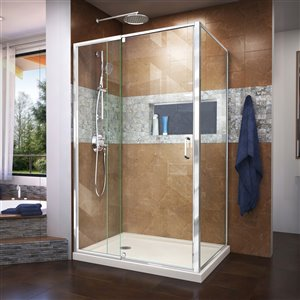 DreamLine Flex Shower Enclosure/Base Kit - 48-in - Chrome