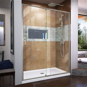 DreamLine Flex Sliding Shower Door/Base  34-in x 60-in - Nickel