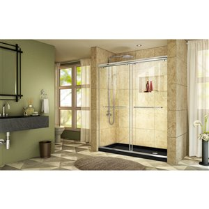DreamLine Charisma Shower Door and Base - 60-in - Chrome