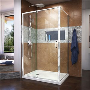 DreamLine Flex Shower Enclosure Kit - 48-in - Chrome