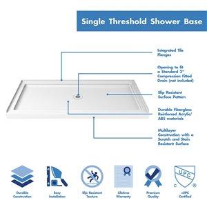 DreamLine QWALL-5 Framed Shower Base/Backwalls - 60-in - White