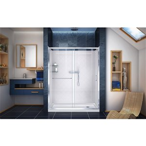 DreamLine Infinity-Z Glass Shower Door Kit - 60-in- Chrome
